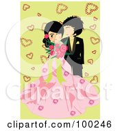 Royalty Free RF Clipart Illustration Of A Cute Wedding Couple Over Green With Hearts by mayawizard101