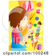 Royalty Free RF Clipart Illustration Of A Brunette Girl Licking An Ice Cream Cone