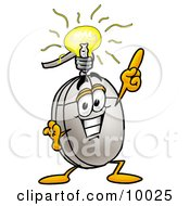 Clipart Picture Of A Computer Mouse Mascot Cartoon Character With A Bright Idea