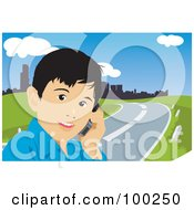 Royalty Free RF Clipart Illustration Of A Little Boy Talking On A Cell Phone By A Road by mayawizard101