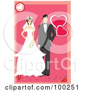 Wedding Couple Standing With Flowers Over Pink