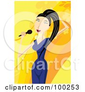 Royalty Free RF Clipart Illustration Of A Young Female Singer In A Blue Dress