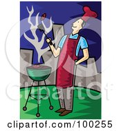 Royalty Free RF Clipart Illustration Of A Man Flipping A Meat Patty Over A Charcoal Grill