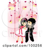 Cute Wedding Couple Sitting On A Swing
