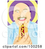 Royalty Free RF Clipart Illustration Of A Happy Man Eating A Hot Dog In A Bun by mayawizard101