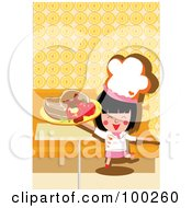 Royalty Free RF Clipart Illustration Of A Chef Girl Holding A Steak And Peppers