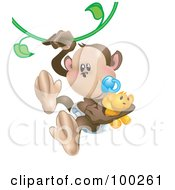 Royalty Free RF Clipart Illustration Of A Baby Monkey With A Pacifier And Teddy Bear Swinging On A Vine by AtStockIllustration