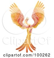 Royalty Free RF Clipart Illustration Of A Golden And Red Phoenix Bird Crowing And Stretching Its Wings