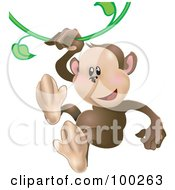 Royalty Free RF Clipart Illustration Of A Cute Monkey Swinging On A Green Vine by AtStockIllustration