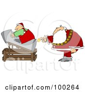 Royalty Free RF Clipart Illustration Of Santa Lighting A Rocket With An Elf On Top