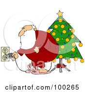 Royalty Free RF Clipart Illustration Of Santa In Pajamas Plugging In His Christmas Tree Lights