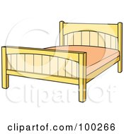 Royalty Free RF Clipart Illustration Of A Simple Bed Frame With A Pink Mattress