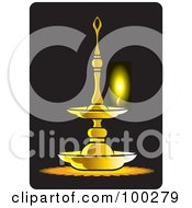 Royalty Free RF Clipart Illustration Of A Burning Oil Lamp by Lal Perera