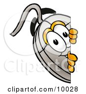 Clipart Picture Of A Computer Mouse Mascot Cartoon Character Peeking Around A Corner