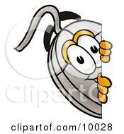 Computer Mouse Mascot Cartoon Character Peeking Around A Corner