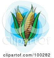 Royalty Free RF Clipart Illustration Of Two Ears Of Corn With Green Foliage Over Blue by Lal Perera