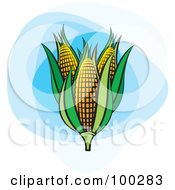 Royalty Free RF Clipart Illustration Of Three Ears Of Corn With Green Foliage On Blue by Lal Perera