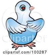 Royalty Free RF Clipart Illustration Of A Blue Dove With Its Wings In Front Of Its Body by Lal Perera