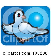 Royalty Free RF Clipart Illustration Of A Blue Dove Icon 2 by Lal Perera
