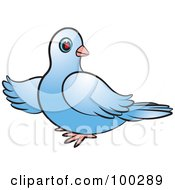 Royalty Free RF Clipart Illustration Of A Blue Dove Pointing Left by Lal Perera