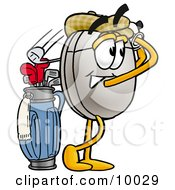 Clipart Picture Of A Computer Mouse Mascot Cartoon Character Swinging His Golf Club While Golfing