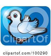 Royalty Free RF Clipart Illustration Of A Blue Dove Icon 4 by Lal Perera