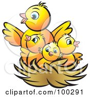 Royalty Free RF Clipart Illustration Of A Mother Bird With Baby Birds In A Nest