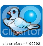 Royalty Free RF Clipart Illustration Of A Blue Dove Icon 1 by Lal Perera