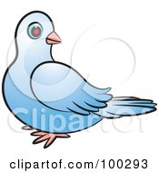 Royalty Free RF Clipart Illustration Of A Blue Dove Looking Back by Lal Perera