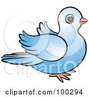 Royalty Free RF Clipart Illustration Of A Blue Dove Flapping Right by Lal Perera