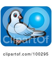 Royalty Free RF Clipart Illustration Of A Blue Dove Icon 3 by Lal Perera