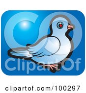 Royalty Free RF Clipart Illustration Of A Blue Dove Icon 5 by Lal Perera