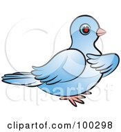 Royalty Free RF Clipart Illustration Of A Blue Dove Holding A Wing To Its Chest by Lal Perera