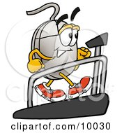 Computer Mouse Mascot Cartoon Character Walking On A Treadmill In A Fitness Gym