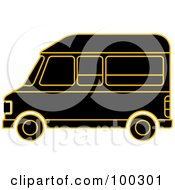 Royalty Free RF Clipart Illustration Of A Black And Gold Van by Lal Perera