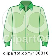 Royalty Free RF Clipart Illustration Of A Green Button Up Shirt by Lal Perera