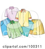 Royalty Free RF Clipart Illustration Of A Group Of Shirts And Skirts by Lal Perera
