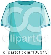 Royalty Free RF Clipart Illustration Of A Blue T Shirt by Lal Perera