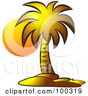 Royalty Free RF Clipart Illustration Of An Orange Sun Illuminating A Palm Tree by Lal Perera