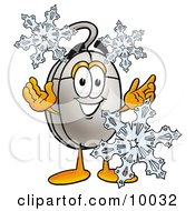 Clipart Picture Of A Computer Mouse Mascot Cartoon Character With Three Snowflakes In Winter