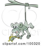 Royalty Free RF Clipart Illustration Of A Hungry Gray Monkey Eating A Banana by Lal Perera