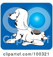 Royalty Free RF Clipart Illustration Of A Dalmation Puppy Dog Facing Left by Lal Perera