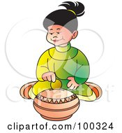 Royalty Free RF Clipart Illustration Of A Little Girl Inserting A Coin In A Till by Lal Perera