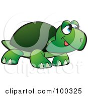 Royalty Free RF Clipart Illustration Of A Happy Green Tortoise by Lal Perera