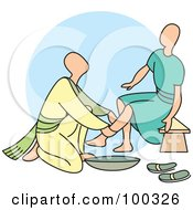 Royalty Free RF Clipart Illustration Of A Man Washing A Womans Legs by Lal Perera