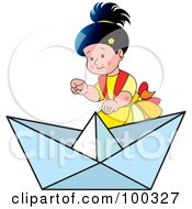 Royalty Free RF Clipart Illustration Of A Little Girl By A Small Boat