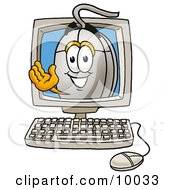 Clipart Picture Of A Computer Mouse Mascot Cartoon Character Aving From Inside A Computer Screen