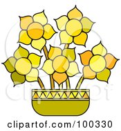 Royalty Free RF Clipart Illustration Of A Pot Of Yellow Flowers