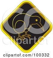 Black And Gold Kiwi Bird Icon