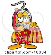 Clipart Picture Of A Computer Mouse Mascot Cartoon Character In Orange And Red Snorkel Gear